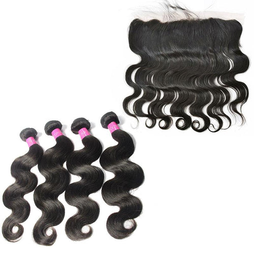 Loks Brazilian Body wave hair unprocessed 4 Bundles with Frontal - Lokshair