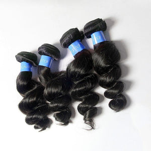 Loks Malaysian Loose Wave Bundles 4 Bundles With Closure - Lokshair