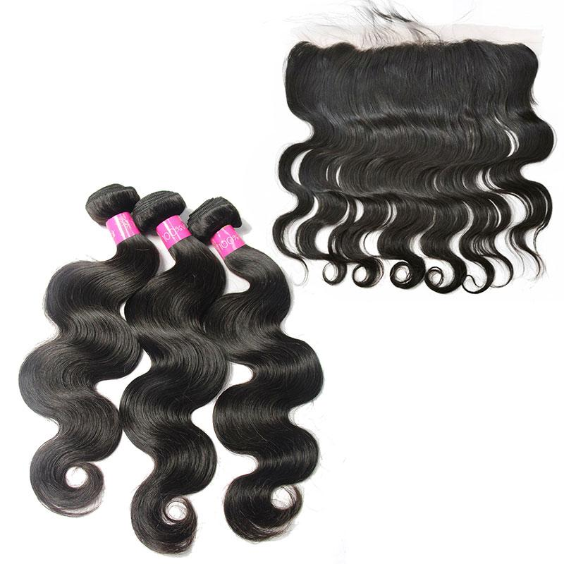 Loks Unprocess Brazilian Body Wave 3 Bundles & Frontal - Lokshair