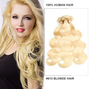 wholesale 613 Blonde color virgin Hair bundles Human Hair vendors-Loks - Lokshair