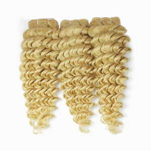 wholesale 613 Blonde color virgin Human Hair bundles Deep wave-Loks - Lokshair