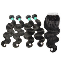 Load image into Gallery viewer, Loks Indian body wave lace closure with 4 bundles - Lokshair
