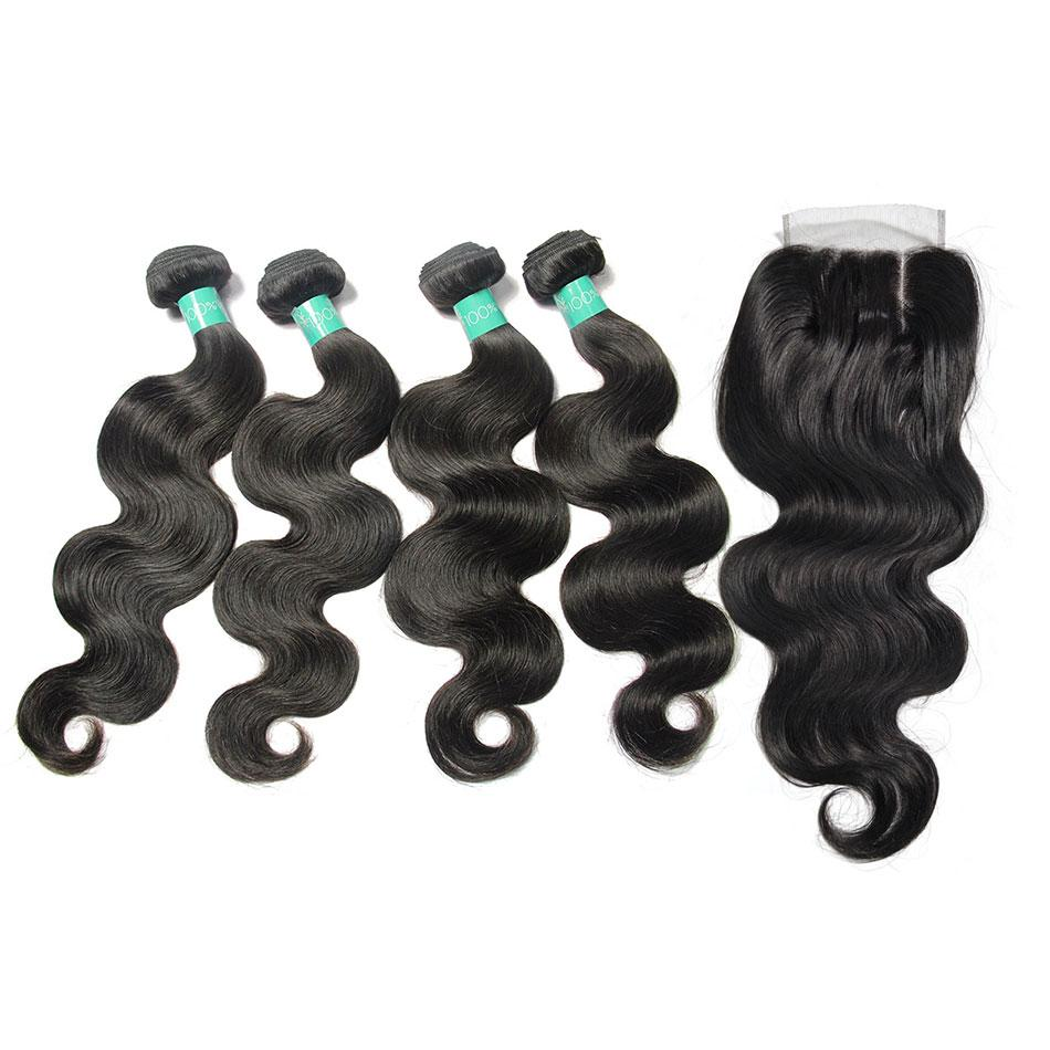 Loks Indian body wave lace closure with 4 bundles - Lokshair