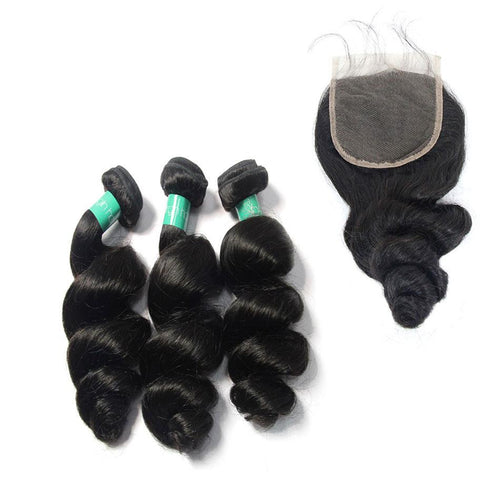 Loks Indian Remy Loose Wave Human Hair 3 Bundles With Closure - Lokshair