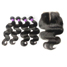 Load image into Gallery viewer, Loks peruvian body wave lace closure with 4 bundles - Lokshair