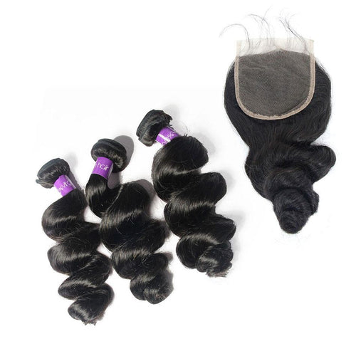 Loks Peruvian Loose Wave Human Hair 3 Bundles With Closure - Lokshair