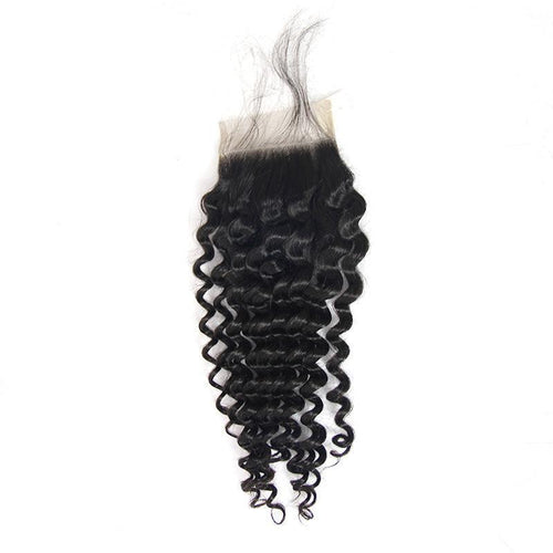 Loks Virgin human virgin 4*4 lace hair closure deep wave - Lokshair