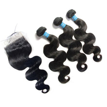 Load image into Gallery viewer, Loks Virgin Hair Malaysian Body Wave 3 Bundles With Closure - Lokshair