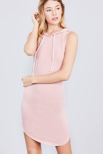 Sleeveless Drawstring Hoodie Mini Dress - Blush - Dreaming In Scarlett