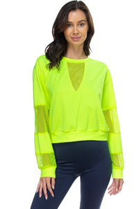 Mesh Long Sleeve Pullover Sweater - Neon Lime - Dreaming In Scarlett