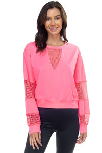 Mesh Long Sleeve Pullover Sweater - Neon Pink - Dreaming In Scarlett