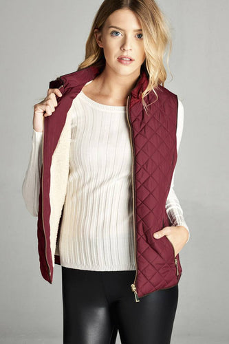 Faux Shearling Lined Quilted Padding Vest - Burgundy - Dreaming In Scarlett
