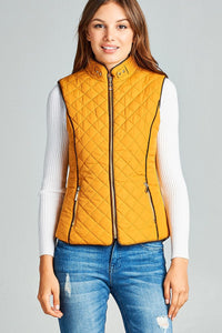 Faux Shearling Lined Quilted Padding Vest - Mustard - Dreaming In Scarlett