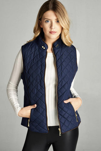 Faux Shearling Lined Quilted Padding Vest - Navy - Dreaming In Scarlett