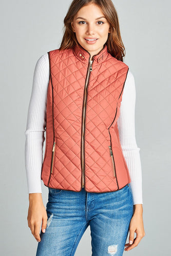 Faux Shearling Lined Quilted Padding Vest - Pink - Dreaming In Scarlett