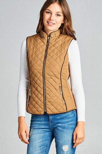 Faux Shearling Lined Quilted Padding Vest - Camel - Dreaming In Scarlett