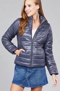 Long Sleeve Quilted Padding Jacket - Dark Grey - Dreaming In Scarlett