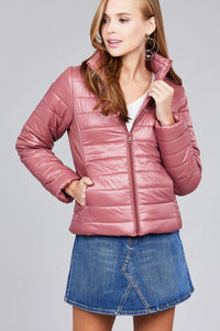 Long Sleeve Quilted Padding Jacket - Mauve - Dreaming In Scarlett