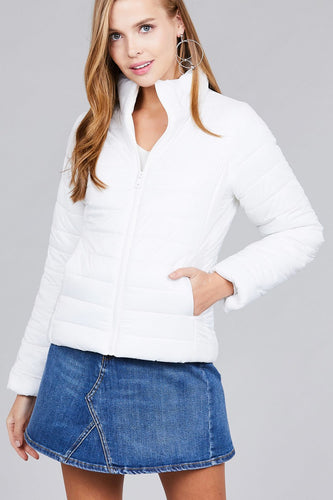Long Sleeve Quilted Padding Jacket - White - Dreaming In Scarlett
