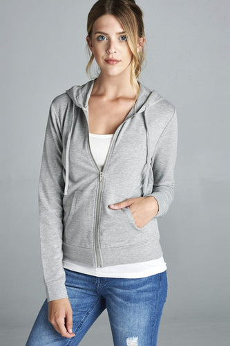 Long Sleeve Zipper French Terry Jacket W/ Kangaroo Pocket - Heather Grey - Dreaming In Scarlett
