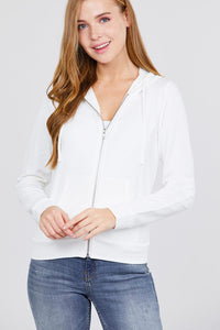 Long Sleeve Zipper French Terry Jacket W/ Kangaroo Pocket - Off White - Dreaming In Scarlett