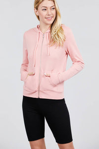 Long Sleeve Zipper French Terry Jacket W/ Kangaroo Pocket - Pink - Dreaming In Scarlett