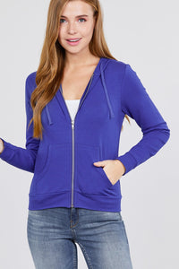 Long Sleeve Zipper French Terry Jacket W/ Kangaroo Pocket - Royal - Dreaming In Scarlett