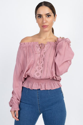 Off Shoulder Embroidered Shirt - Pink - Dreaming In Scarlett