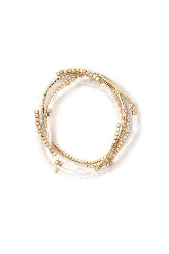 Fresh Water Pearl Stackable Bracelet Set - Dreaming In Scarlett