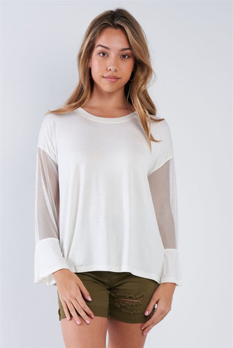Long Mesh Sleeve Top - Off White - Dreaming In Scarlett
