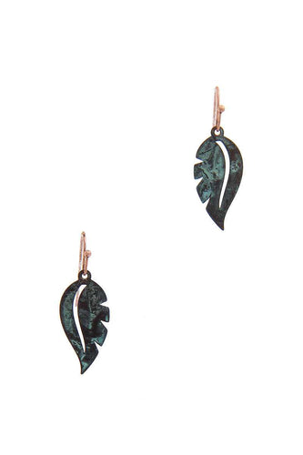 Leaf Shape Drop Earring - Dreaming In Scarlett