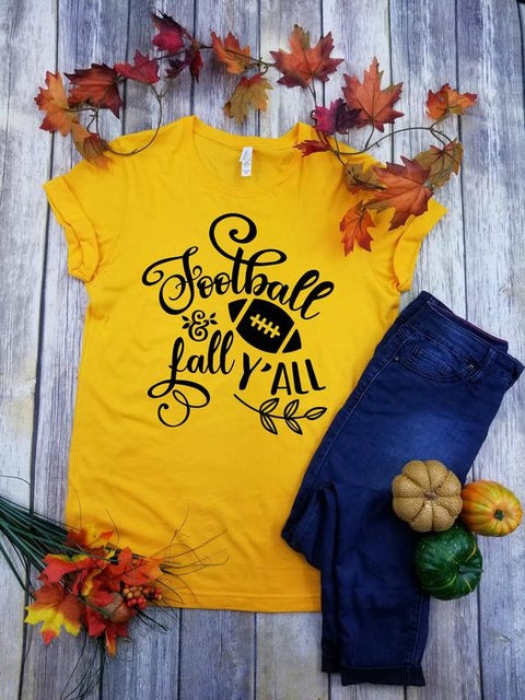 Football and Fall Y'all T-Shirt - Dreaming In Scarlett