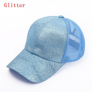 Messy Bun Trucker Hat - Glitter And Solid Colors - Dreaming In Scarlett