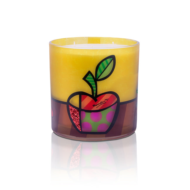 """The Apple"" Romero Britto® 6"" x 6"" Candle"