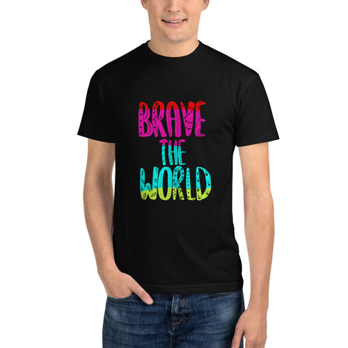 Brave The World (colour text) Unisex Sustainable Tee
