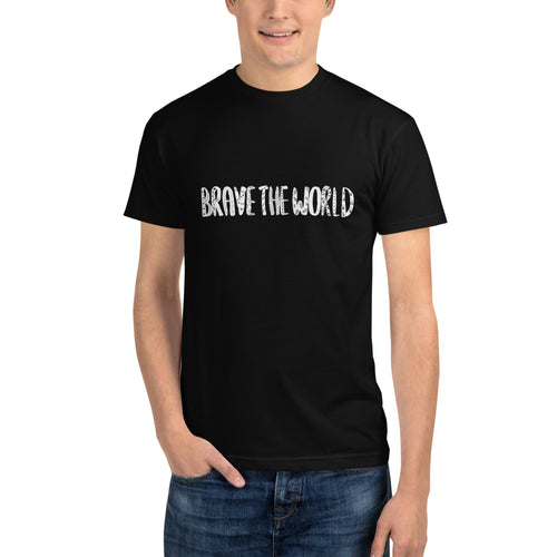 Brave The World (small white text) Unisex Sustainable Tee