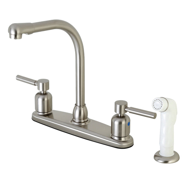 Kingston Brass FB718DL Concord 8-Inch Centerset Kitchen Faucet with Sprayer, Brushed Nickel