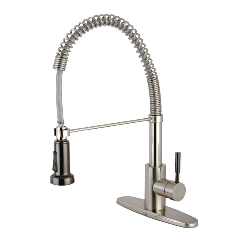 Gourmetier GSY8888DKL Kaiser Single-Handle Pre-Rinse Kitchen Faucet, Brushed Nickel/Black Stainless Steel