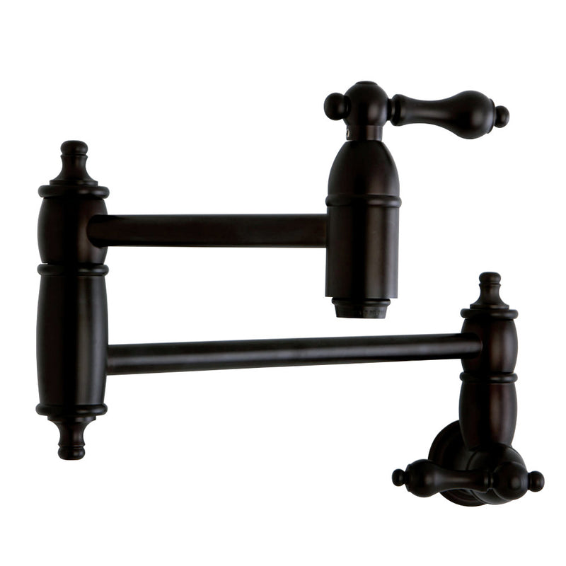 Kingston Brass KS3105AL Restoration Wall Mount Pot Filler Kitchen Faucet, Oil Rubbed Bronze