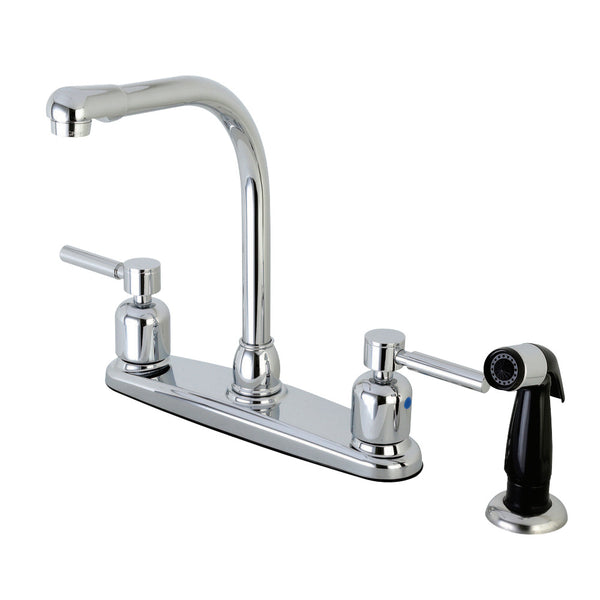 Kingston Brass FB751DL Concord 8-Inch Centerset Kitchen Faucet with Sprayer, Polished Chrome