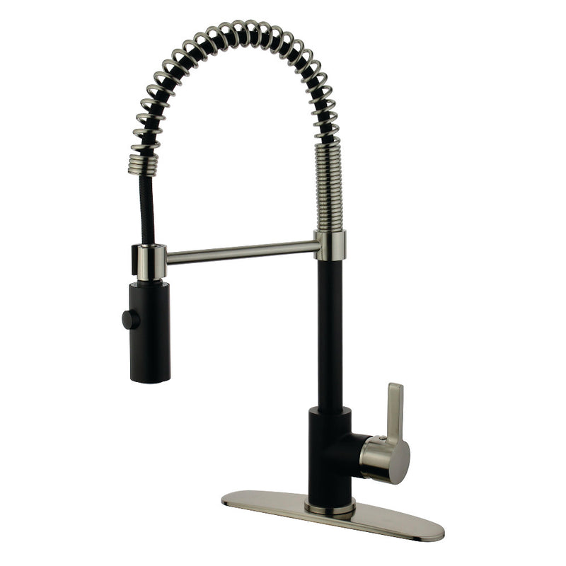 Gourmetier LS8779CTL Continental Single-Handle Pre-Rinse Kitchen Faucet, Matte Black/Brushed Nickel