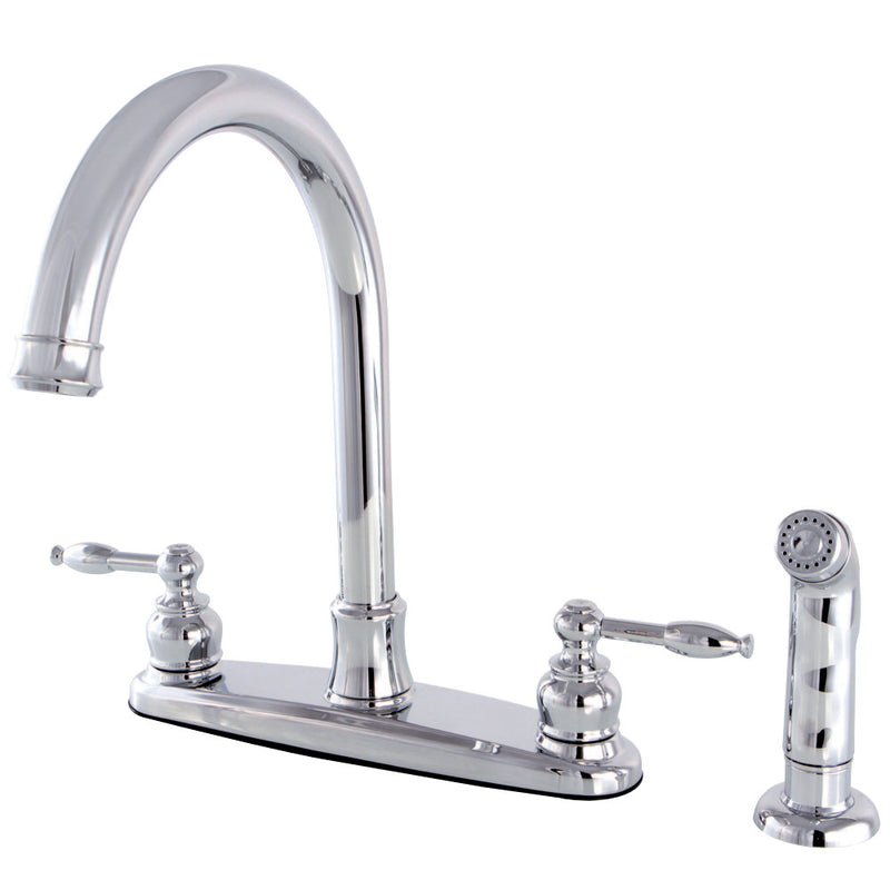 Kingston Brass FB7791KLSP Knight 8-Inch Centerset Kitchen Faucet with Sprayer, Polished Chrome