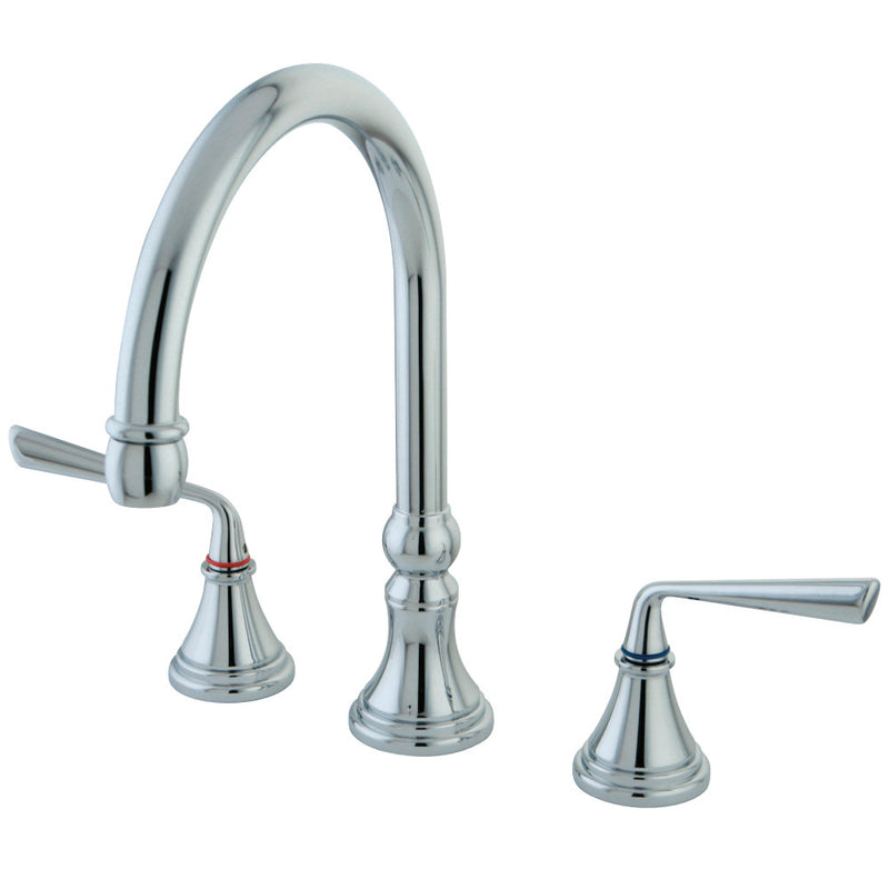 Kingston Brass KS2791ZLLS Widespread Kitchen Faucet, Polished Chrome