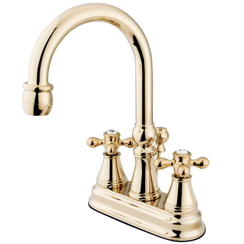 Kingston Brass KS2612AX 4 in. Centerset Bathroom Faucet, Polished Brass