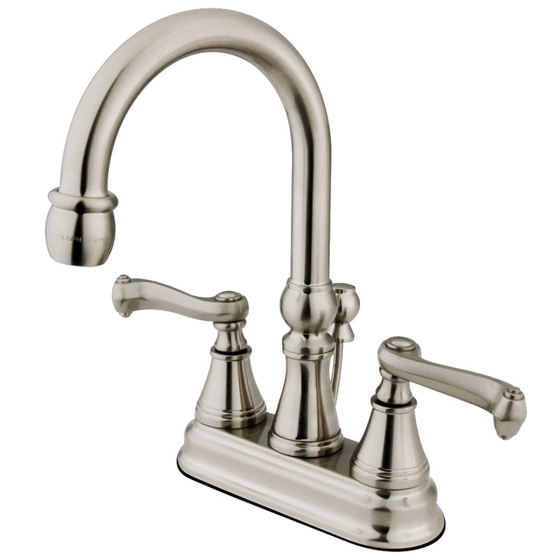 Kingston Brass KS2618FL 4 in. Centerset Bathroom Faucet, Brushed Nickel
