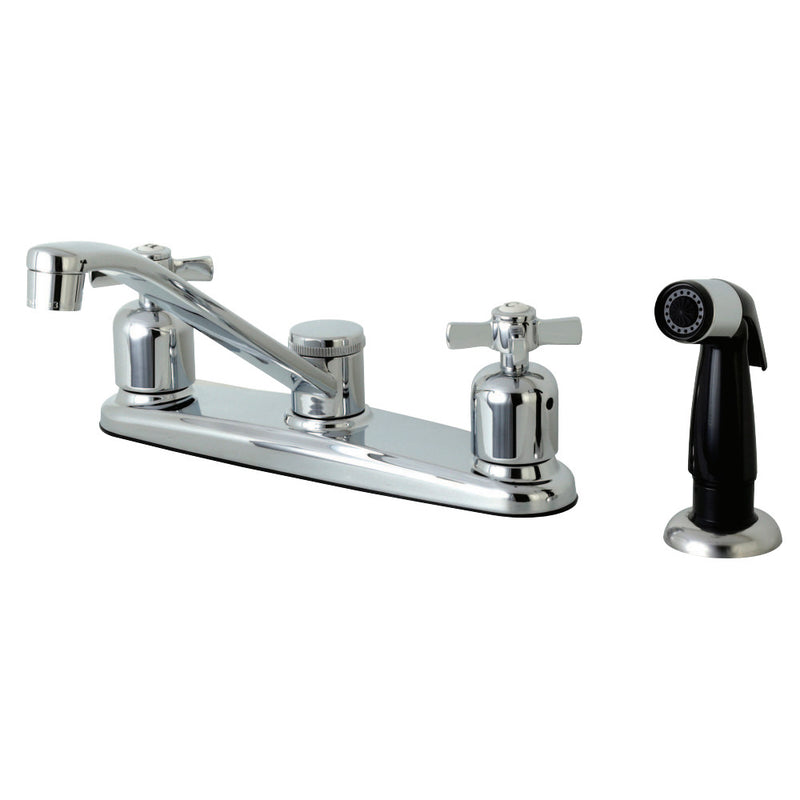Kingston Brass FB112ZX Millennium 8-Inch Centerset Kitchen Faucet with Sprayer, Polished Chrome