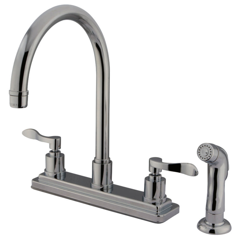 Kingston Brass KS8791DFL 8-Inch Centerset Kitchen Faucet, Polished Chrome