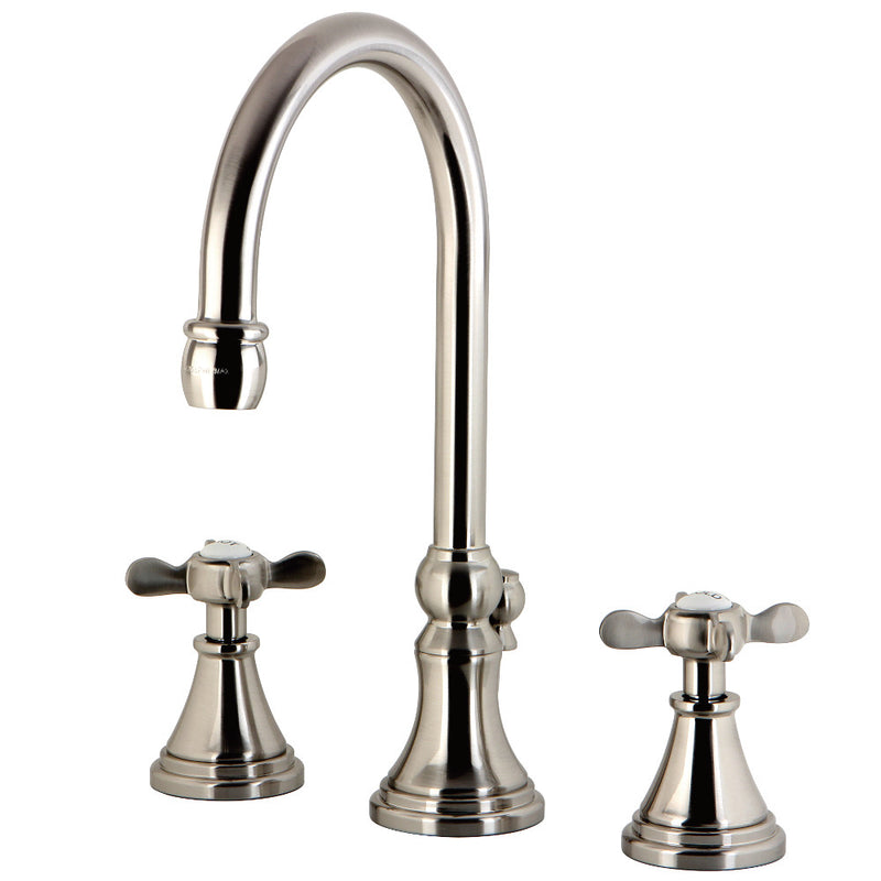 Kingston Brass KS2988BEX Essex Widespread Bathroom Faucet with Brass Pop-Up, Brushed Nickel