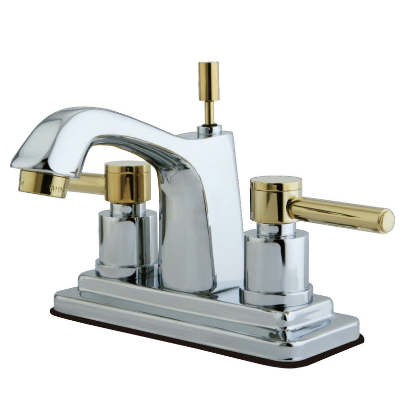 Kingston Brass KS8644DL 4 in. Centerset Bathroom Faucet, Polished Chrome/Polished Brass