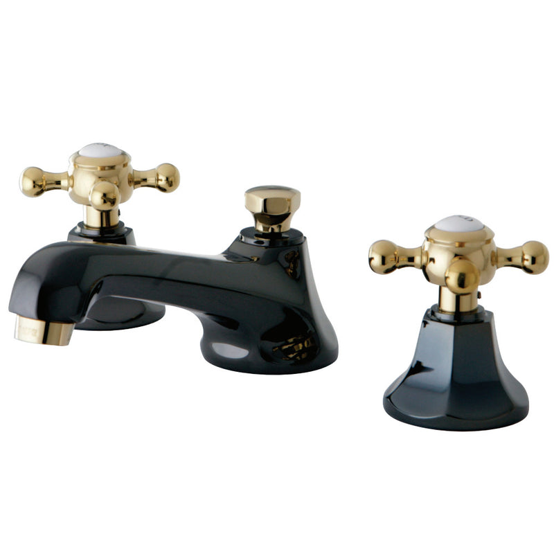 Kingston Brass NS4469BX 8 in. Widespread Bathroom Faucet, Black Stainless Steel/Polished Brass